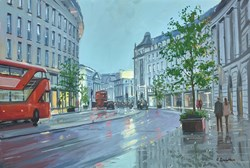 Regent Street Reflections by Charles Rowbotham - Original Painting on Board sized 18x12 inches. Available from Whitewall Galleries